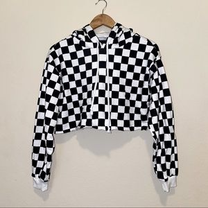 Checkered Cropped Hoodie